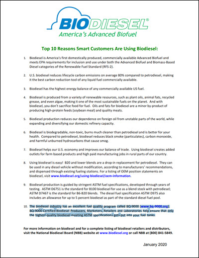 Top 10 Reasons to Use Biodiesel Cover